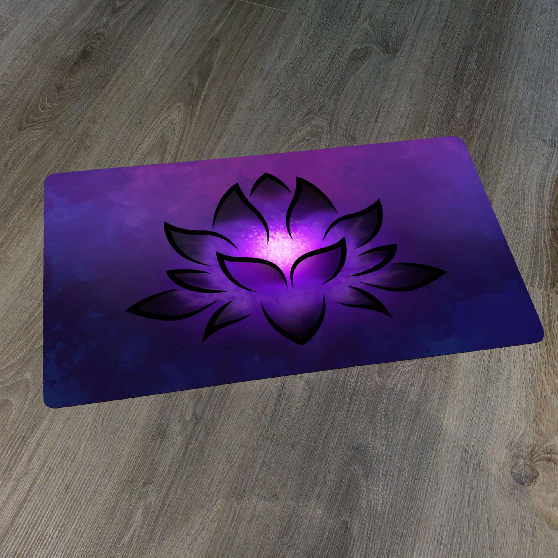 Black Lotus Playmat on Wooden Background